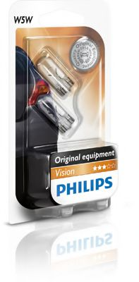 Лампа накаливания W5W12V 5W W 2,1X9,5d (blister 2шт) (пр-во Philips)                                  арт. 12961B2