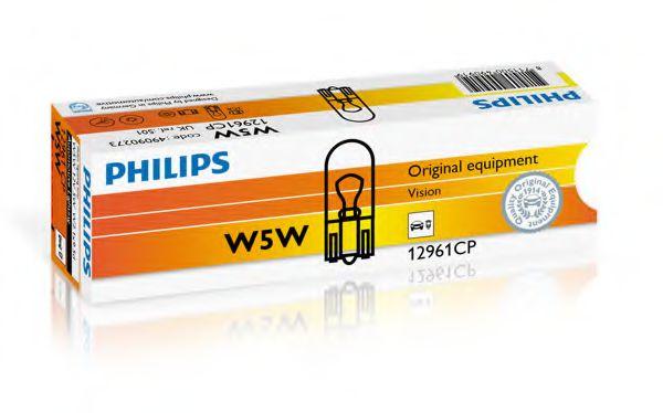 Лампа накаливания W5W12V 5W W 2,1X9,5d (пр-во Philips)                                                арт. 12961CP