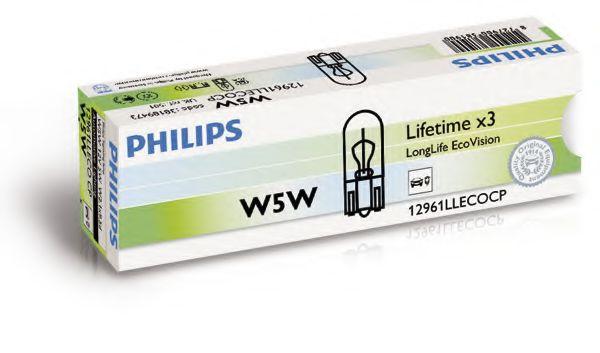 Лампа накаливания W5W 12V 5WW2,1X9,5d  LongerLife EcoVision (пр-во Philips)                           арт. 12961LLECOCP