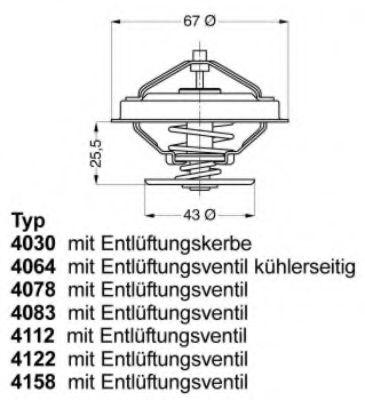 Термостат FORD; JEEP; LAND ROVER; OPEL; ROVER (пр-во Wahler)                                          арт. 415880D