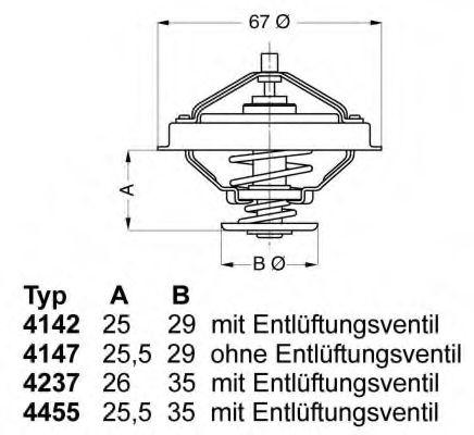 WAHLER FORD Термостат PEUGEOT,RENAULT 19,21,TRAFIC WAHLER 414780D
