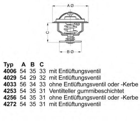 WAHLER OPEL Термостат Astra F 91-, Kadett 84-, FORD Sierra 82- WAHLER 425692D50