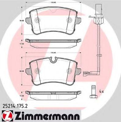 Гальмівні колодки дискові зад. Audi A6/A6/S6 IV (4 ZIMMERMANN 252141752