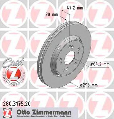 Диск тормозной ZIMMERMANN 280317520