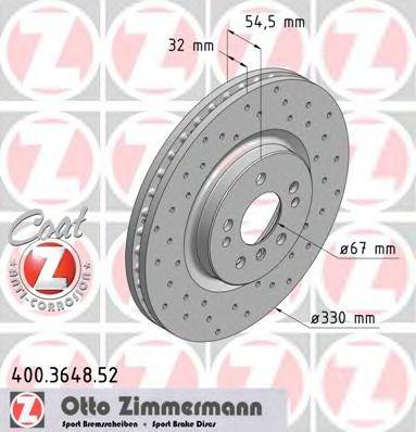 Диск гальмівний пер DB ML164/R251 3,2-3,5 cdi 05- ZIMMERMANN 400364852
