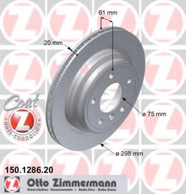 Диск гальмівний BMW 5er /E39 (96-03) (298X20X61.3) ZIMMERMANN 150128620