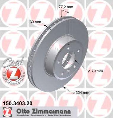 Фото - Гальмівний диск перед вентил E60/E63 3,0 (324x30) ZIMMERMANN - 150340320