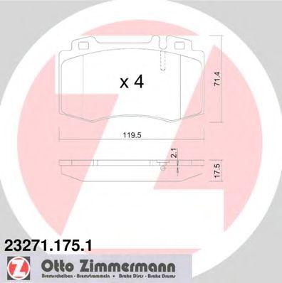Гальмівні колодки пер. MB W220 2,8i-6,0i  без датч ZIMMERMANN 232711751