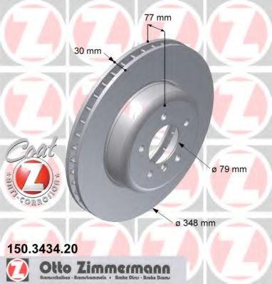 Тормозной диск передний BMW Е60 530i-550i (348x30) ZIMMERMANN 150343420