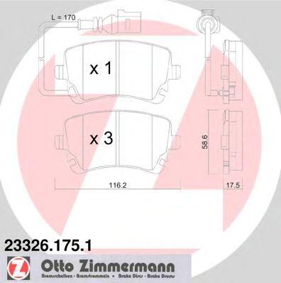 Гальмівні колодки зад з датчиком Audi A4, A6 2.0TD ZIMMERMANN 233261751