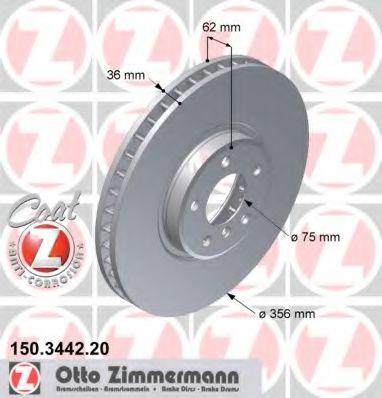 Тормозной диск передний BMW X5(E53) 4.6is, 4.8is (356x36) ZIMMERMANN 150344220