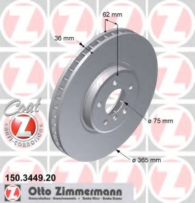 Тормозной диск передний BMW X5(E70), X6(E71) 3.0sd-4.8i, X5(F15), X6(F16) (365x36) ZIMMERMANN 150344920