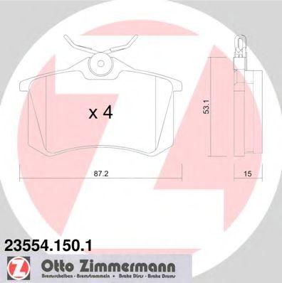 Гальмівні колодки дискові зад. VW Corrado, Golf, J ZIMMERMANN 235541501