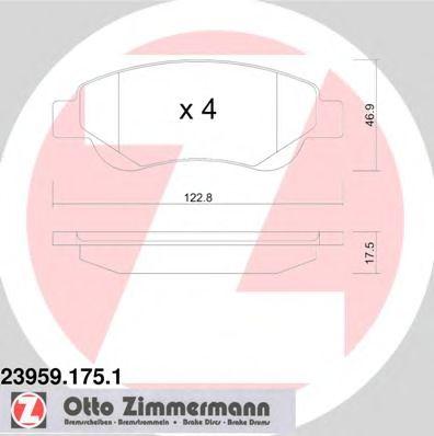 Гальмівні колодки дискові перед. Peugeot 107 1,0 05-/Citroen C1 05-/Toyota Aygo 1.4HDI 05- ZIMMERMANN 239591751