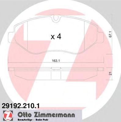 Аксессуары Колодки пер. VW Crafter 30/35 MB Sprinter (06>), Vito/Viano (10>)   арт. 291922101