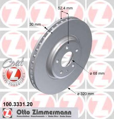 Диск гальмівний AUDI A4 07-/A5 07-/Q5 08- передній ZIMMERMANN 100333120