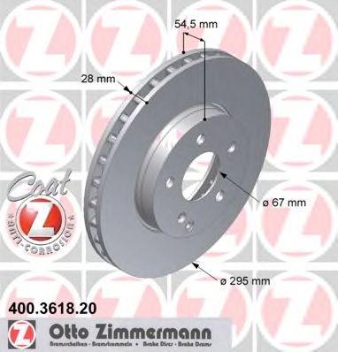 Диск гальмівний перед MB W211 20/24/22CDI/27CDI 02 ZIMMERMANN 400361820