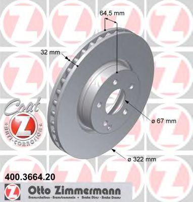 Гальмiвнi диски ZIMMERMANN 400366420
