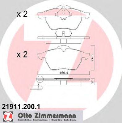 Гальмівні колодки перед Audi A3/VW Golf 4 до 2000г ZIMMERMANN 219112001