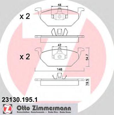 Гальмівні колодки перед Audi A3/Seat Leon/Skoda Fa ZIMMERMANN 231301951