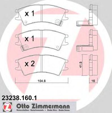 Комплект тормозных колодок, дисковый тормоз  арт. 232381601