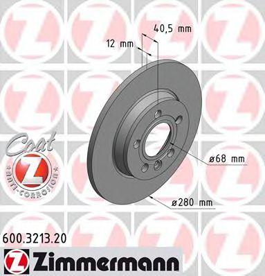задний невентел. VW Transp.T4 2,5/2,5TDI/2,8VR6 (280x12) Coat Z ZIMMERMANN 600321320