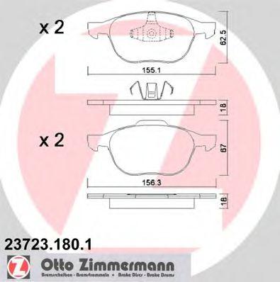 Гальмівні колодки перед Mazda3 16i/20i/Ford Focus/ ZIMMERMANN 237231801