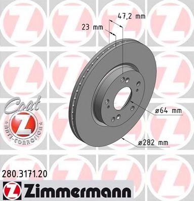 Гальмівний диск перед вент Honda Civic 18i/FR-V/St  арт. 280317120