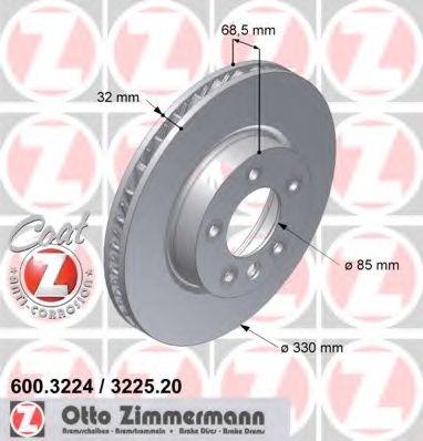 Диск гальмівний пер лів. VW Touareg 3.0/3.6 V6 04- ZIMMERMANN 600322420
