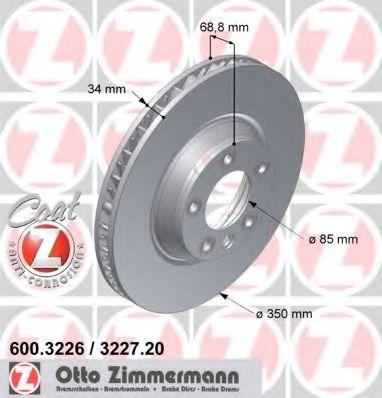 Диск гальмівний перед. лівий Audi Q7/VW Touareg/Po ZIMMERMANN 600322620
