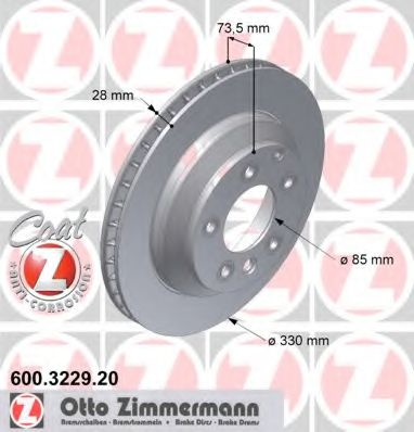 Диск гальмівний зад VW Touareg 11.02-/ Porsche Cay ZIMMERMANN 600322920