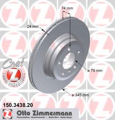 Диск гальмівний зад. Bmw 7 (E65,E66) 730,735 05- ZIMMERMANN 150343820