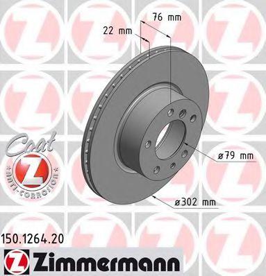 передний вентел. Е34 (2.5,3.0,3.5), Е32 730i (302x22) ZIMMERMANN 150126420