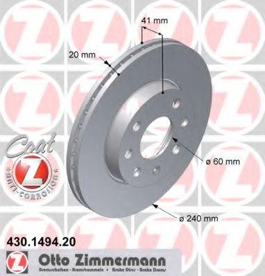 Диск гальмівний перед. Opel Corsa C 1.0I-1.2I 00- +ABS (240x20) ZIMMERMANN 430149420