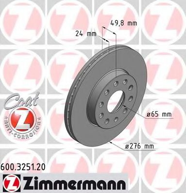 Диск гальмівний передн. вентил. (276mmx24mm) AUDI A3 1.0 TFSI/1.0 TSI/1.2 TFSI/1.2 TSI/1.4 GTE ZIMMERMANN 600325120