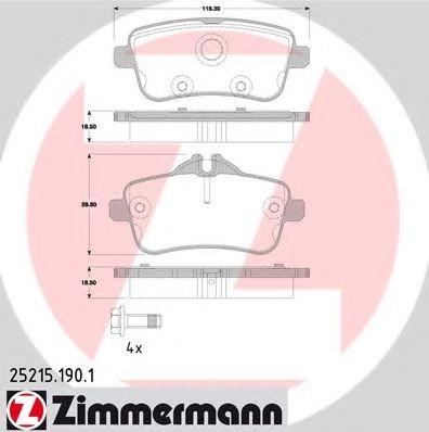 Гальмівні колодки зад MB ML W166 25d-50i/GL X166 3 ZIMMERMANN 252151901