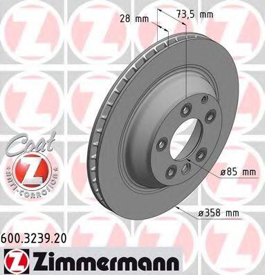 Диск гальмівний зад. Audi Q7 3.0TDI/Porsce Cayenne ZIMMERMANN 600323920