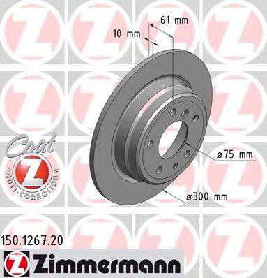 Диск гальмівний зад. Bmw 5 (E34) 88- ZIMMERMANN 150126720