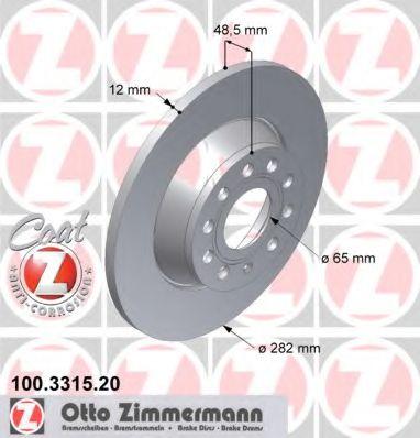 Диск гальмівний зад. Audi/Seat/Skoda/VW 02-> ZIMMERMANN 100331520