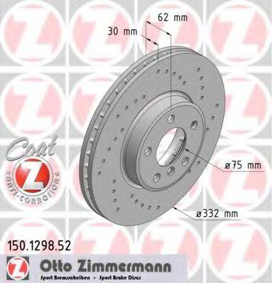 передний вентел. X-5 3.0i, 3.0d, 4.4i после 07,00г (332x30) ZIMMERMANN 150129852