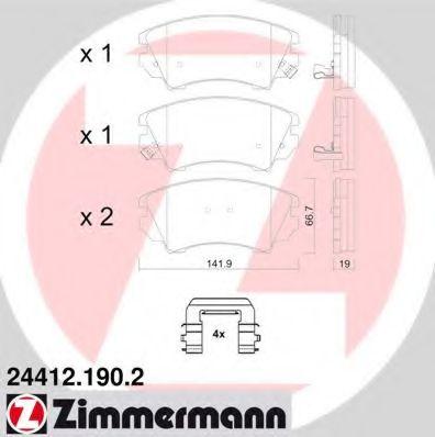 Комплект тормозных колодок, дисковый тормоз  арт. 244121902