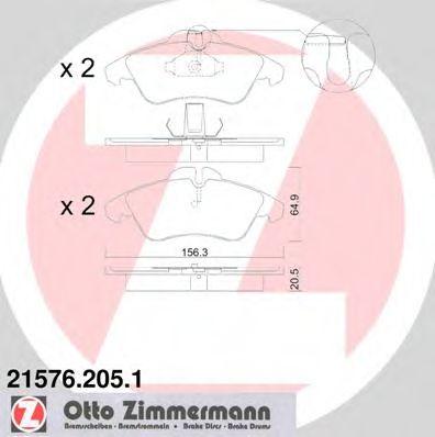 Гальмівні колодки дискові перед. DB Sprinter 208D/Sprinter 208E/Sprinter 210D/Sprinter/VW LT 95- ZIMMERMANN 215762051