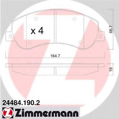 Гальмівні колодки дискові перед Ford Transit 2,2-2 ZIMMERMANN 244841902