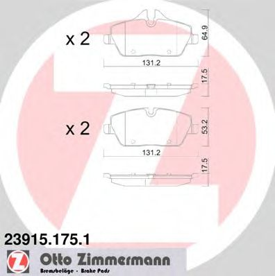 Комплект тормозных колодок, дисковый тормоз  арт. 239151751