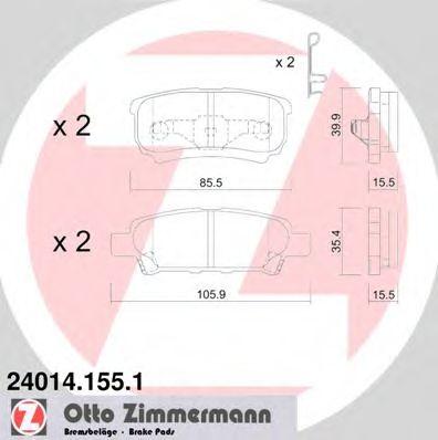 Гальмівні колодки зад Mitsubishi Lancer 9/Outlande ZIMMERMANN 240141551