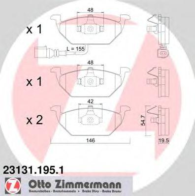 Гальмівні колодки перед Audi A3 1.9TDI 96-/Skoda O ZIMMERMANN 231311951