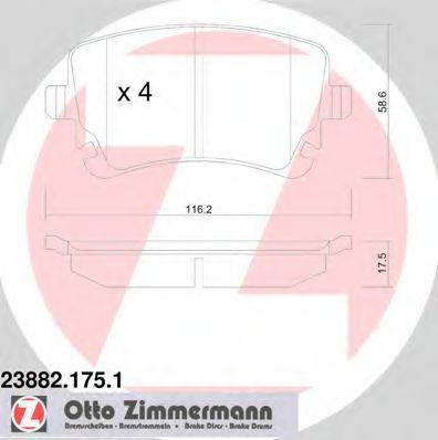 Гальмівні колодки зад (з датчиком) Audi A4, A6 2.0 ZIMMERMANN 238821751