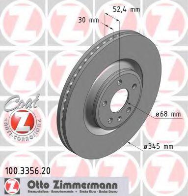 Диск гальмівний пер AUDI A6/A7/Q5 08- ZIMMERMANN 100335620