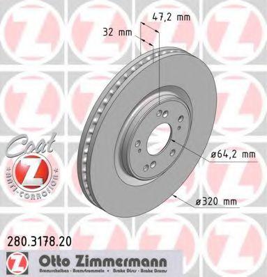 Диск гальмівний перед HONDA ACCORD 2.4 08- ZIMMERMANN 280317820