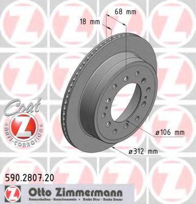 Диск гальмівний зад. Toyota Land Cruiser 96- ZIMMERMANN 590280720